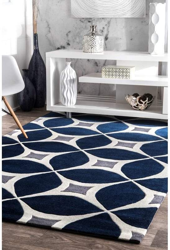 Langley Street Jamar Handmade Navy Blue Gray Area Rug Navy Blue And Grey Living Room Blue Living Room Contemporary Rugs