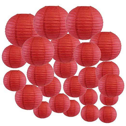 Just Artifacts Decorative Round Chinese Paper Lanterns 24pcs Assorted Sizes Color Dark Red Paper Lantern Decor Japanese Paper Lanterns Chinese Paper Lanterns