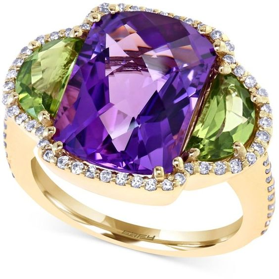 Effy Amethyst (10 ct. t.w. ), Peridot (2 ct t.w.) and Diamond (3/8 ct. ($1,650) ❤ liked on Polyvore featuring jewelry, rings, gold, 14 karat gold ring, yellow gold rings, pave diamond ring, cushion cut diamond ring and 14k yellow gold ring