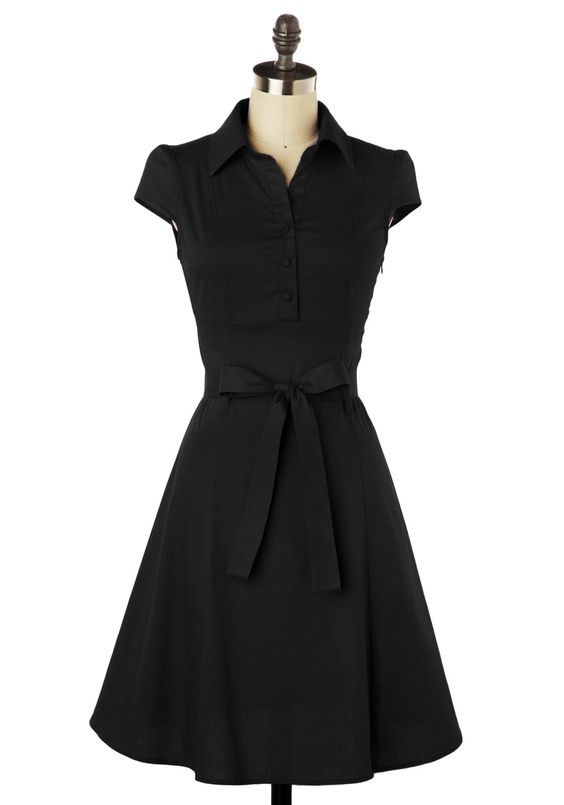 Soda Fountain Dress in Cola - Black, Solid, Bows, Casual, Vintage Inspired, 50s, Shirt Dress, A-line, Cap Sleeves, Rockabilly, 60s, Show On Featured Sale, Mid-length, Work, Fit & Flare