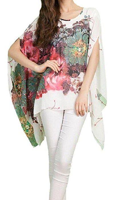 Camisetas Y Tops Dizoe Blusas Y Camisas Mujer Estampadas Flores Caftan Playa Gasa Tallas Grandes Amazon Es Ropa Y Accesor Ropa Tops De Tunica Camisas Mujer