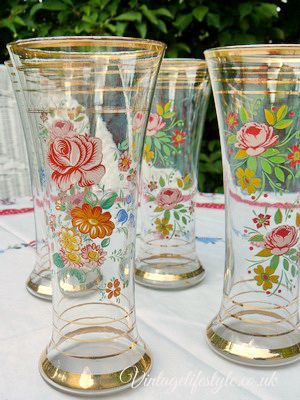 Set of vintage glasses with painted flowers
