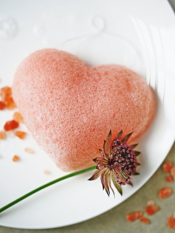 rose clay heart cleansing sponge