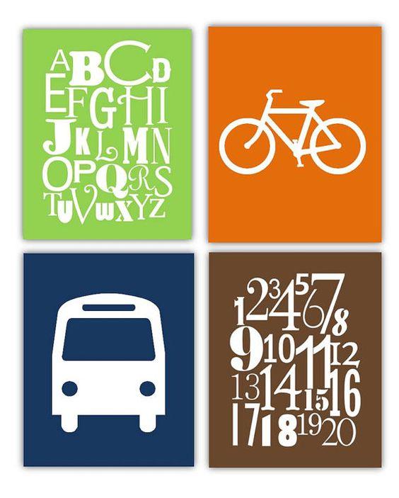 Estampes transport / / Transports pépinière Decor / / Alphabet Art / / numéro d