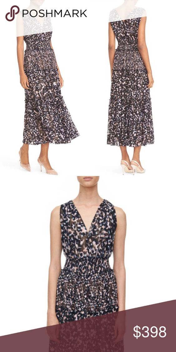NWT Rebecca Taylor Oleander Dress The subtle leopard print lends colorful depth to this midi dress. V-front with smocked shoulders and waist, and long tiered skirt play up an easy silhouette.  DETAILS:  100% silk. Imported. Dry clean. No trades; price firm - this item is new with tags. Rebecca Taylor Dresses Midi
