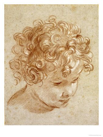 The Head of a Child Looking Down to the Right Affiche par Niccolo Berrettoni sur AllPosters.fr