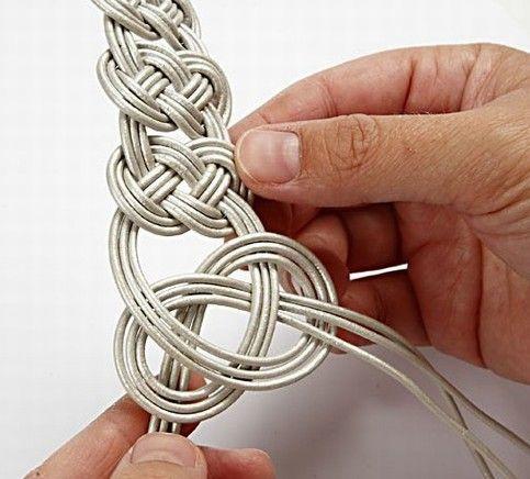 Brazalete de cuero trenzado DIY 8
