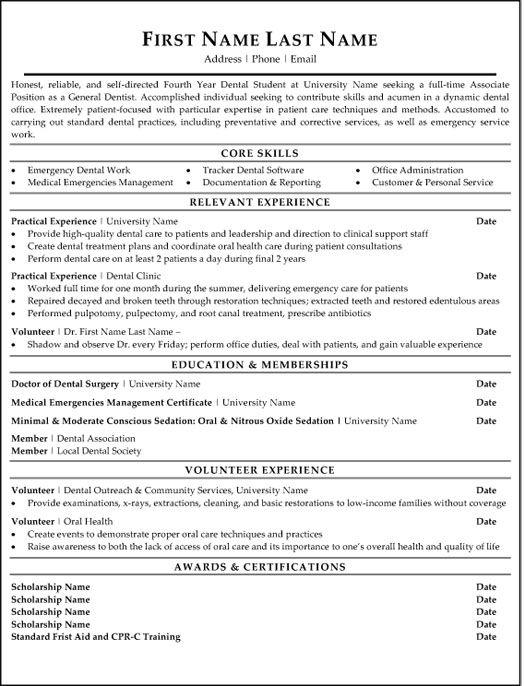 General Dentist Resume Sample Template Dentist Resume Resume Examples Resume