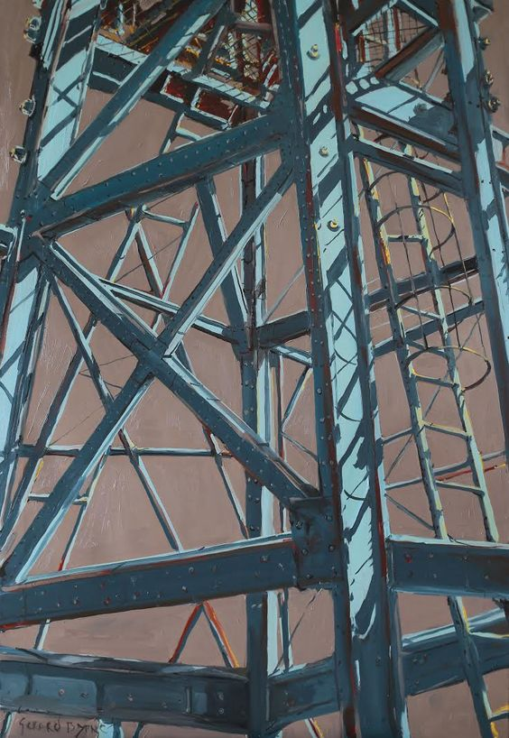 City Ladder, Islington industrial crane, London, oil on canvas, 116x166cm, Gerard Byrne, www.gerardbyrneartist.com
