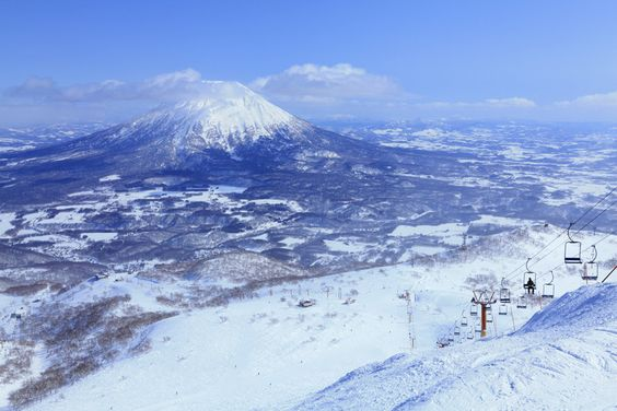 From the top of a run Mount Yotei looks spectacular in the background