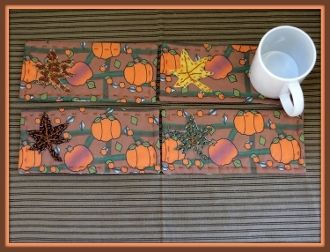 Pumpkin Patch Handmade Custom Fabric Mug Rugs Set by Linda Walsh