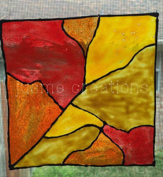 window cling window decal  redorange gold by jusmecreations