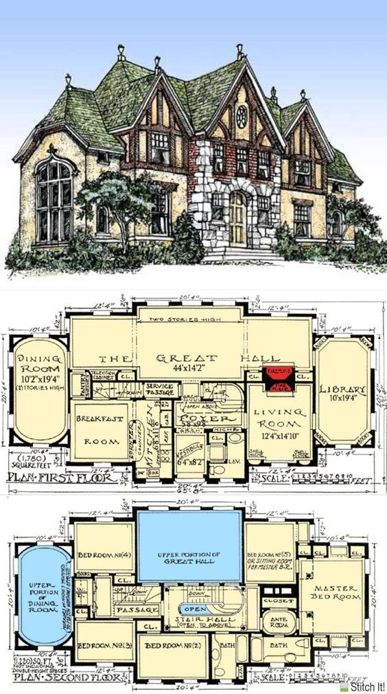 Tudor Plan 2021 Square Feet 4 Bedrooms 2 Bathrooms Chastain One Level House Plans Porch House Plans Vintage House Plans