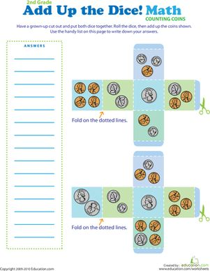 Add Up the Dice | Coins, Entertaining and Addition worksheets