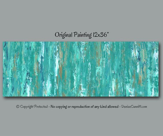 turquoise teal blue abstract painting large wall art. Black Bedroom Furniture Sets. Home Design Ideas