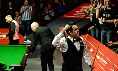 O'Sullivan after coming out victorious against Perry. #SnookerWorldChampionship #Snooker