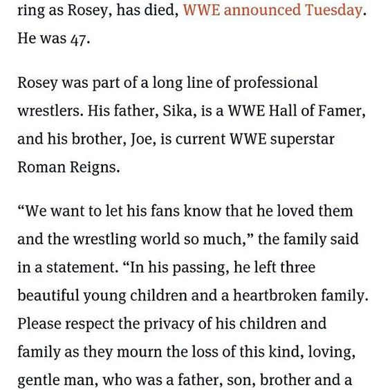 My Prayers And Condolences Go Out To Roman And The AnoaI Family