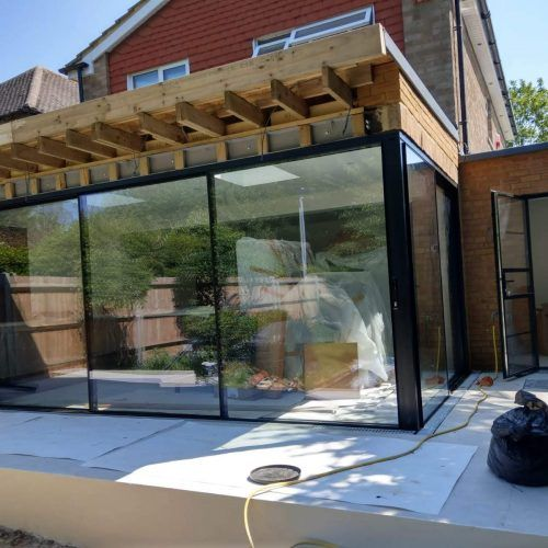 Sliding Doors Bifold Doors With 90 Degree And 135 Degree Moving Corner Posts 1st Folding Slid In 2020 Bifold Doors Sliding Folding Doors Indoor Swimming Pool Design