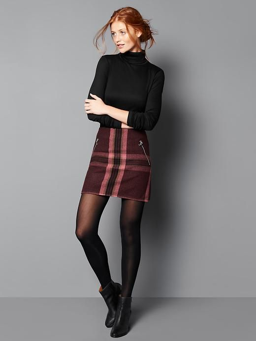Wool plaid zip mini skirt | Gap: