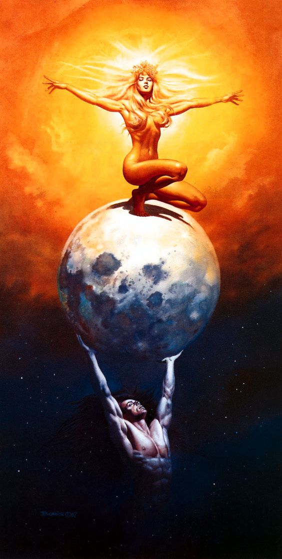 """The Sun and the Moon"" by Boris Vallejo, 1987. Loved this piece since the first time I saw it. At one point thought it'd make a nice tattooo... than realized it'd probably have to be much larger than I'd be comfortable with. Still in the back of my mind, though."