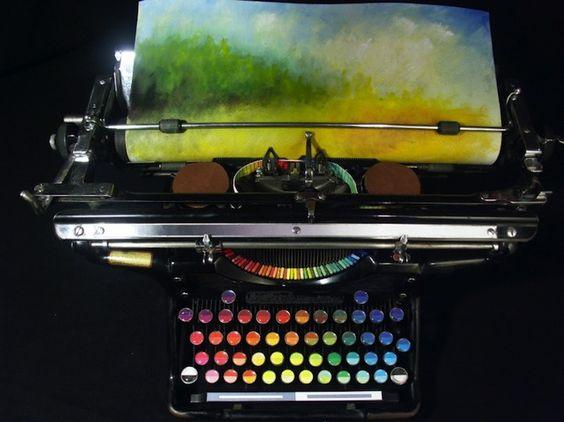 Old Typewriter Creates Colorful Works of Art