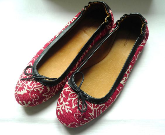 NIB ISABEL MARANT - PRINTED COTTON-CANVAS AND LEATHER BALLET FLATS  SIZE 37 FR
