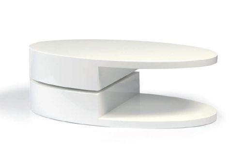 Mesa de centro ovalada con parte superior giratoria