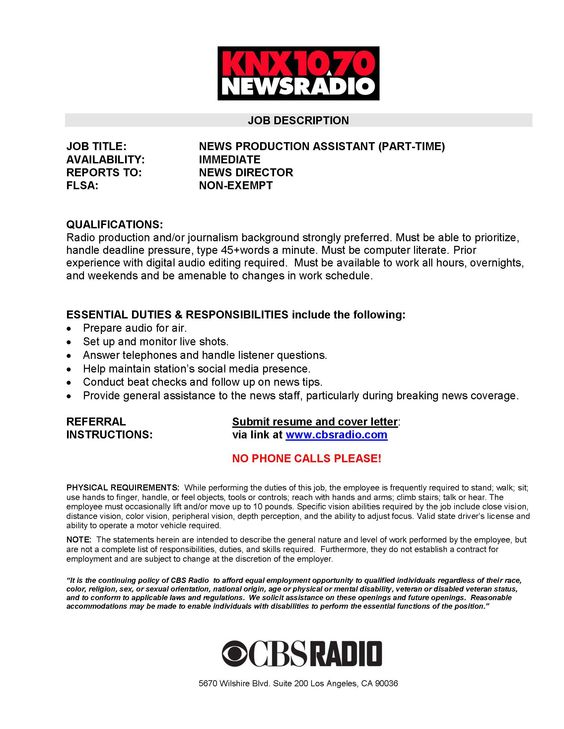 CBS RADIO JOB OPPORTUNITY PT PROMOTION ASSISTANT K-EARTH 101 is - photo editor job description