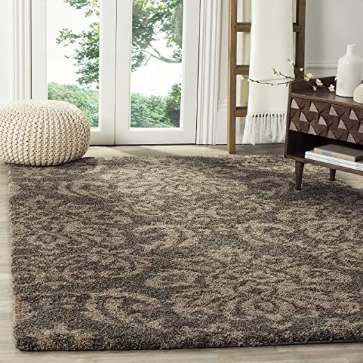 Safavieh Florida Shag Collection Sg460 7913 Damask Textured 1 18 Inch Thick Area Rug 6 X 9 Smoke Beige In 2020 Area Rugs Beige Area Rugs Shag Area Rug