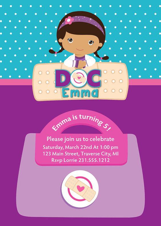 Doc McStuffins, Birthdays and Birthday invitations on ...