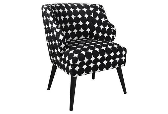 $429 Kira Chair, Black/White Polka Dot