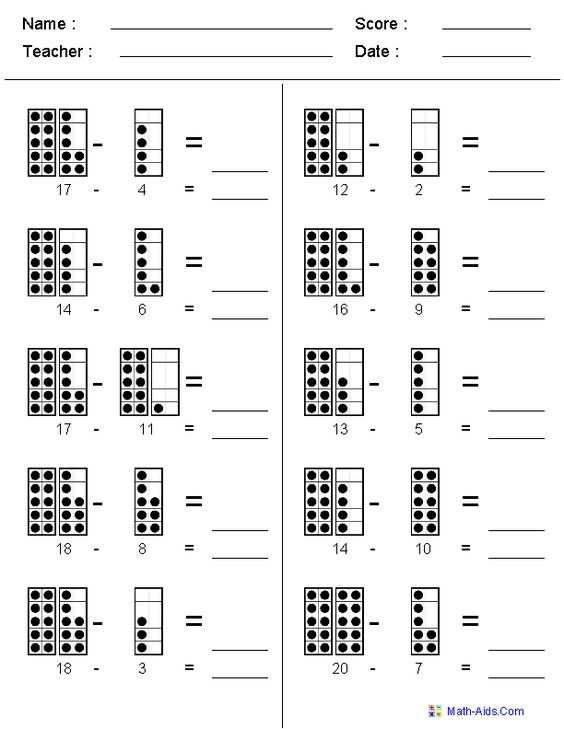 Subtracting Dot Figures to Twenty - Generate as many versions as ...