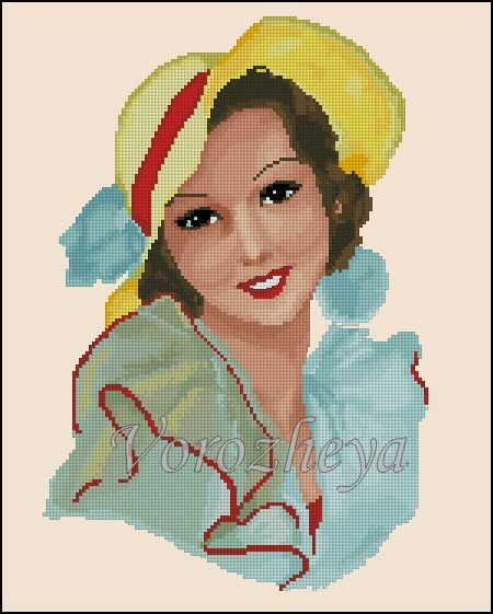 0 point de croix portrait femme chapeau de paille  - cross stitch lady with straw hat