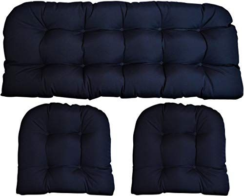 New Sunbrella Canvas Navy Large 3 Piece Wicker Cushion Set 44 X 22 Loveseat Cushion And 21 X 21 U Shape Chair