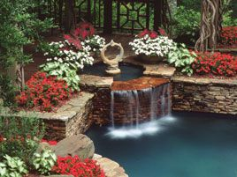 landscaping around pool and waterfall