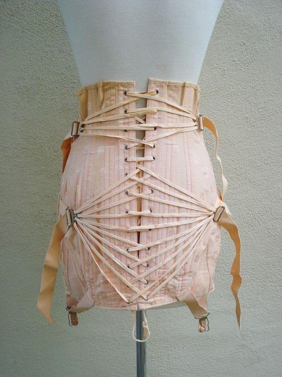 vintage 1930s Peach corset fan Pulley Lace girdle garters