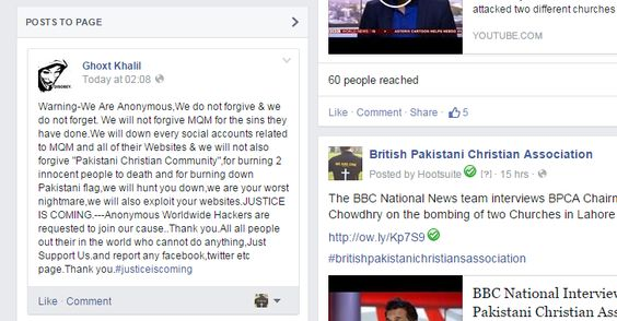 Pakistani Christian campaigner receives Anonymous threat!