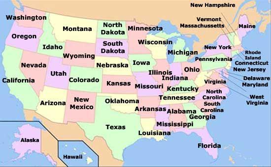 Mapa de los estados de Estados Unidos de América in 2019 ...