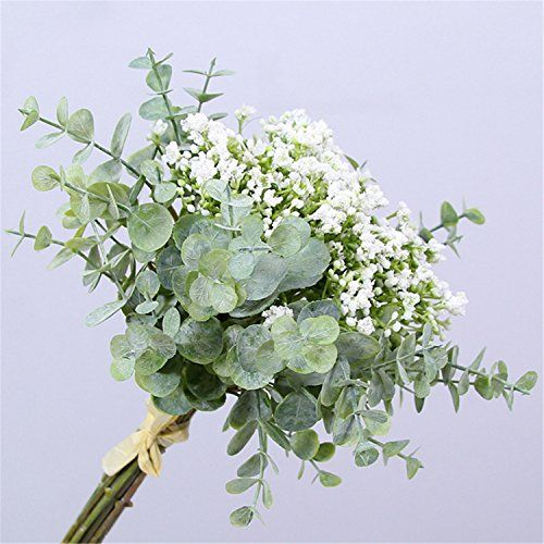Skyseen Artificial Flowers Eucalyptus Leaf Babys Breath Gypsophila Bouquets Wedding Party Home Decor Pack Of 1 White Silk Flower Arrangements Gypsophila Bouquet Wedding Flower Arrangements Fresh Wedding Flowers