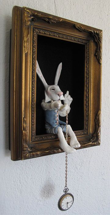 White Rabbit Shadowbox by Lucia Friedericy, Friedericy Dolls