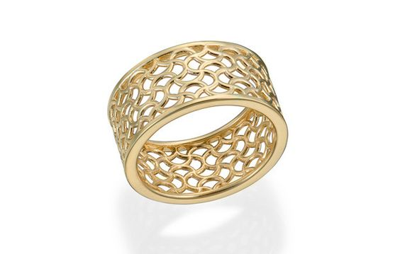 Patterned yellow gold band. Created by Christopher Duquet Fine Jewelry. #gold #ring #band #facingeast