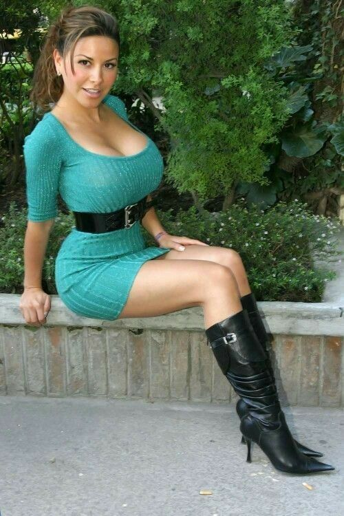 Sexy women with big boobs in tight dresses
