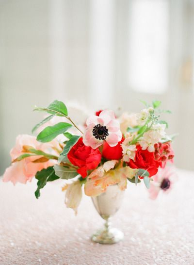 Pink and red flowers: http://www.stylemepretty.com/2014/02/17/romantic-red-wedding-inspiration/ | Photography: KT Merry - http://www.ktmerry.com/