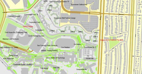 PDF Map San Francisco California US exact printable map Adobe