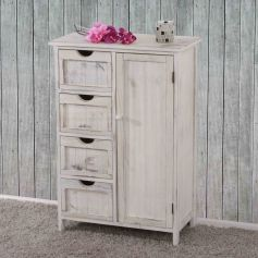 Chest of drawers cabinet, 82x55x30cm, Shabby chic vintage white