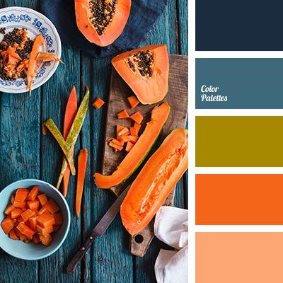 Blue Color Palettes, bright orange, color of pumpkin, color scheme, deep blue, green, olive, pale blue, pumpkin color, selection of colors, shades of orange, shades of pumpkin.