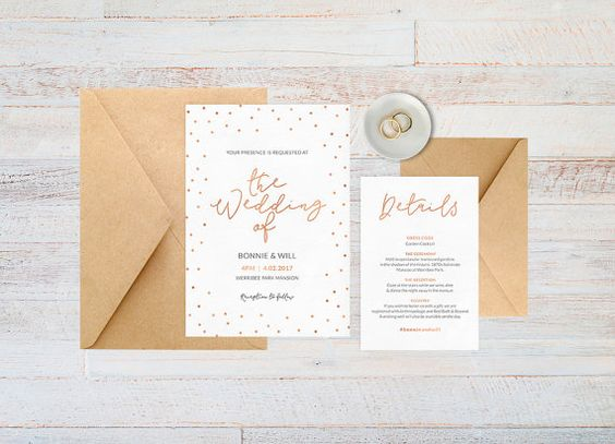 Polka dot invitation in a lovely rose gold - super cute and funky wedding stationery!