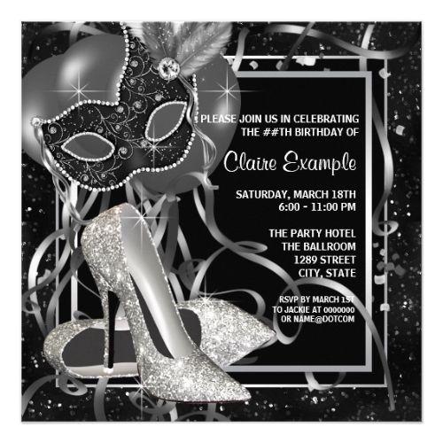 Black And White High Heels Birthday Party Invitation Zazzle Com
