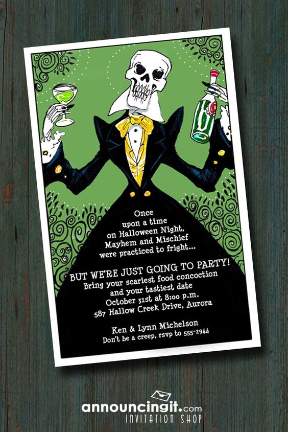 Elegant Skeleton Halloween Party Invitations | Come see ...