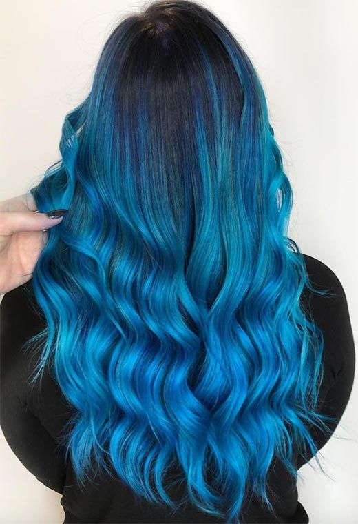 65 Iridescent Blue Hair Color Shades Blue Hair Dye Tips Dyed Hair Blue Colored Hair Tips Hair Color Blue